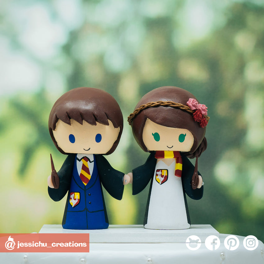 Harry Potter Gryffindor Couple | Custom Handmade Wedding Cake Topper Figurines | Jessichu Creations