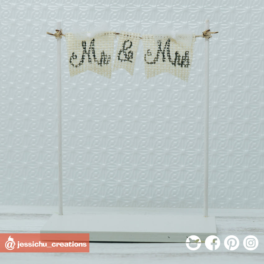 Mr. & Mrs. Flag | Signs | Custom Handmade Wedding Cake Topper Figurines | Jessichu Creations