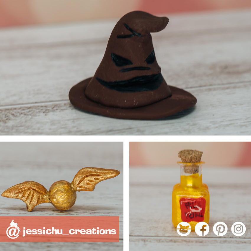Harry Potter | Felix Felicis Potion Bottle, Sorting Hat, Golden Snitch | Custom Handmade Wedding Cake Topper Figurines | Jessichu Creations