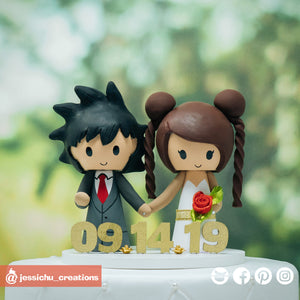 Goku & Princess Serenity | Dragon Ball Z x Sailor Moon | Custom Handmade Wedding Cake Topper Figurines | Jessichu Creations