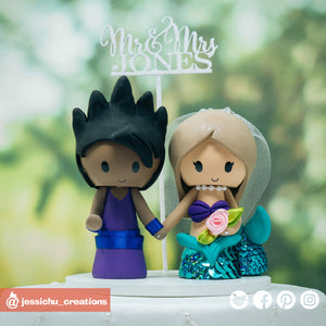 Gohan & Ariel | Disney x Little Mermaid x Dragon Ball Z | Custom Handmade Wedding Cake Topper Figurines | Jessichu Creations