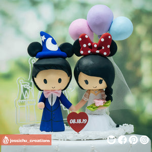 Wizard Mickey & Minnie Mouse with Acrylic Cinderella Castle | Disneyland x Disney | Custom Handmade Wedding Cake Topper Figurines | Jessichu Creations
