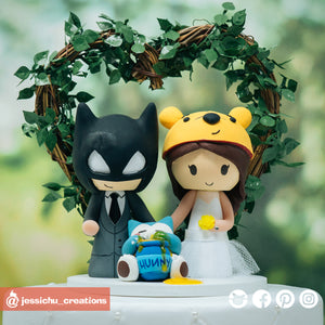 Batman & Winnie the Pooh with Snorlax | Disney x DC x Pokemon | Custom Handmade Wedding Cake Topper Figurines | Jessichu Creations
