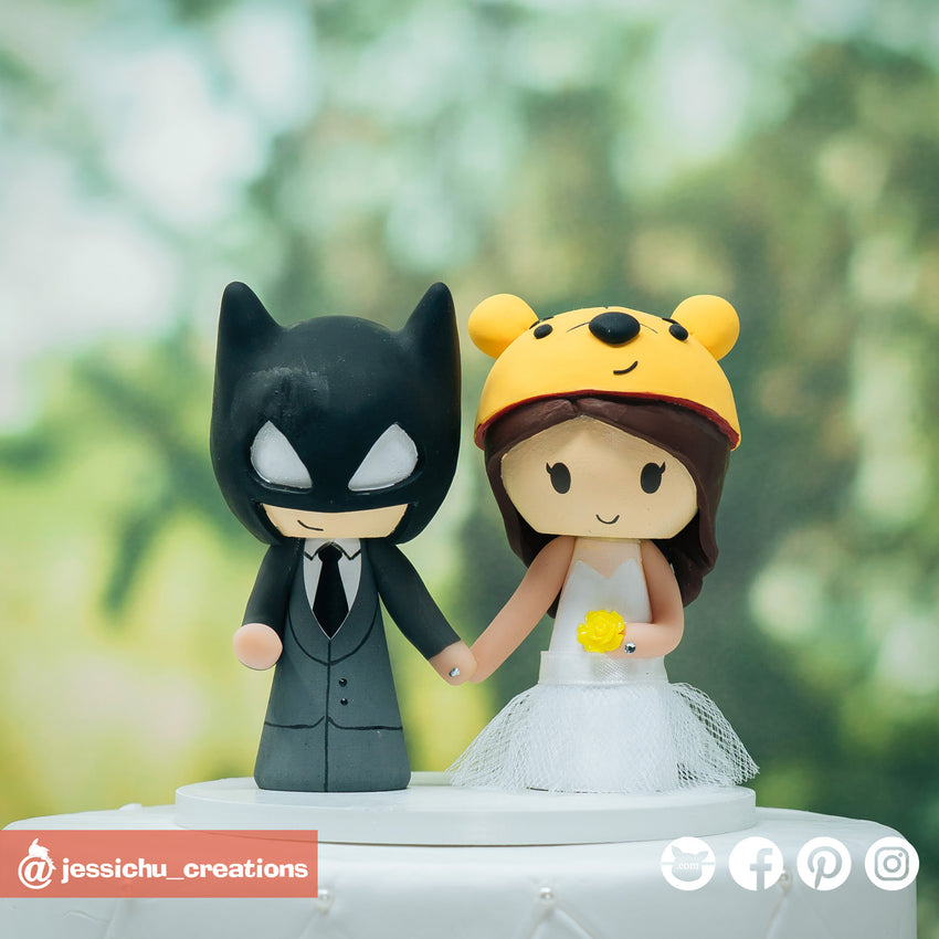 Batman & Winnie the Pooh | Disney x DC | Custom Handmade Wedding Cake Topper Figurines | Jessichu Creations