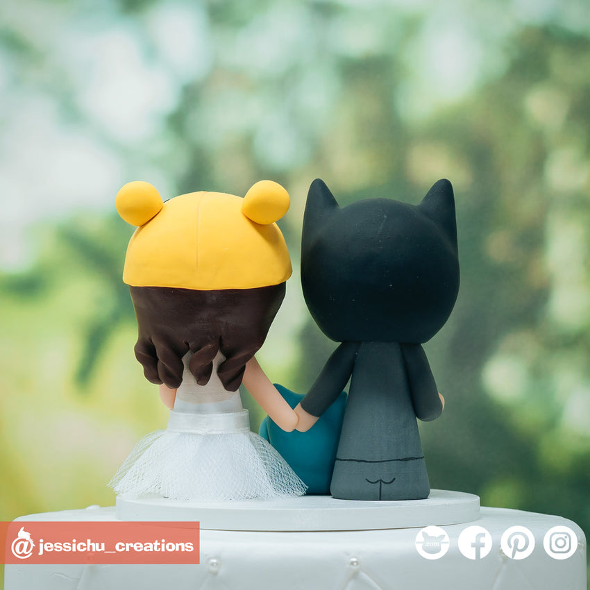Batman Groom & Winnie the Pooh Bride with Snorlax Inspired Disney x DC x Pokemon Wedding Cake Topper | Wedding Cake Toppers | Cake Topper Gallery | Jessichu Creations