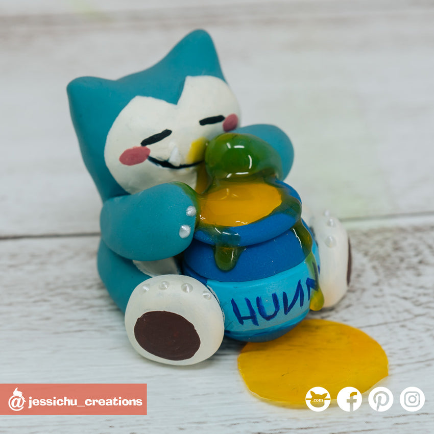 Snorlax with Winnie the Pooh Hunny Pot | Disney x Pokemon | Custom Handmade Wedding Cake Topper Figurines | Jessichu Creations