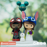 Miles Morales Spiderman & Stitch | Marvel x Disney x Lilo and Stitch | Custom Handmade Wedding Cake Topper Figurines | Jessichu Creations