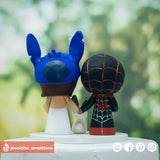 Miles Morales Spiderman Groom & Stitch Bride Inspired Marvel x Disney Wedding Cake Topper | Wedding Cake Toppers | Cake Topper Gallery | Jessichu Creations