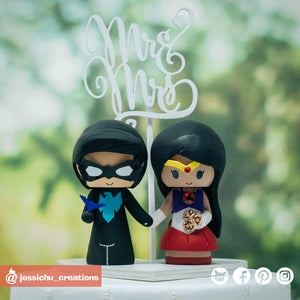 Nightwing & Sailor Mars | DC x Sailor Moon | Custom Handmade Wedding Cake Topper Figurines | Jessichu Creations