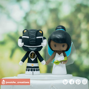 Black Ranger & Tinkerbell | Power Rangers x Disney | Custom Handmade Wedding Cake Topper Figurines | Jessichu Creations