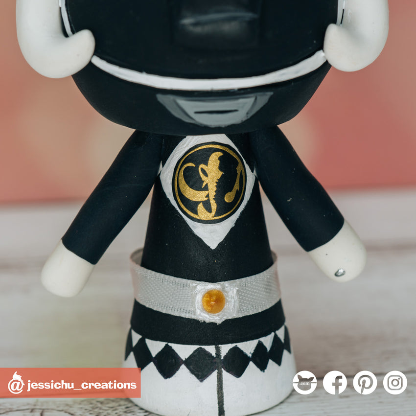 Black Ranger | Power Rangers | Custom Handmade Wedding Cake Topper Figurines | Jessichu Creations