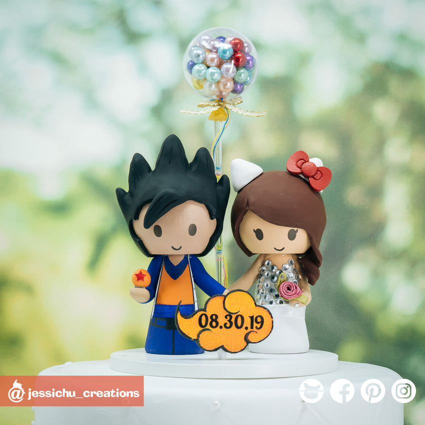 Goku & Hello Kitty | Dragon Ball Z x Sanrio | Custom Handmade Wedding Cake Topper Figurines | Jessichu Creations
