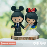 Mickey & Minnie Mouse | Disney | Custom Handmade Wedding Cake Topper Figurines | Jessichu Creations