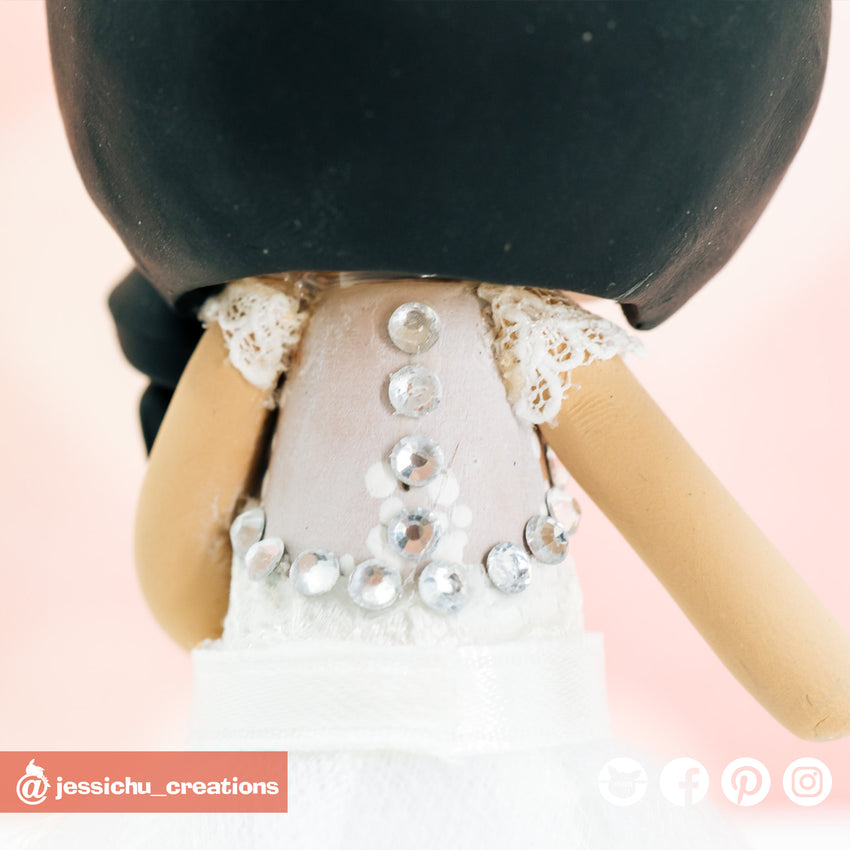 Rhinestone Back | Accessories | Custom Handmade Wedding Cake Topper Figurines | Jessichu Creations