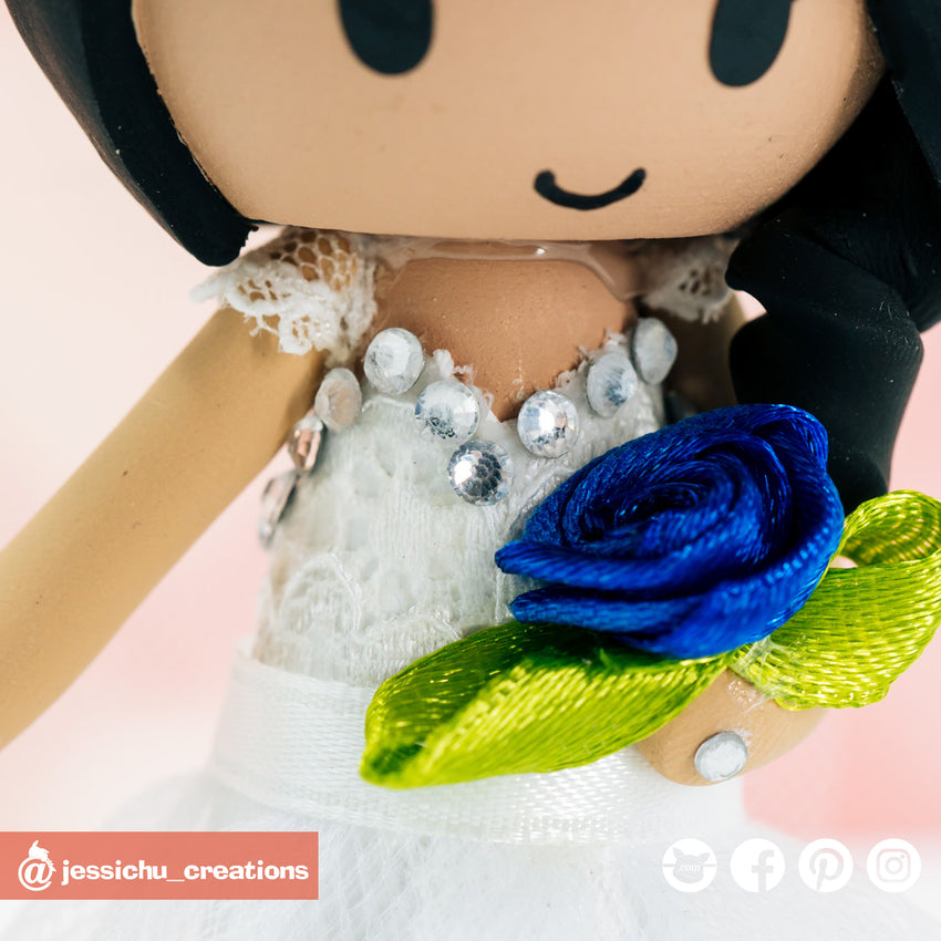 Lace Dress & Rhinestone Lining | Accessories | Custom Handmade Wedding Cake Topper Figurines | Jessichu Creations