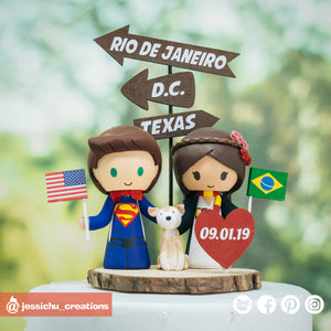 Superman & Harry Potter Gryffindor | DC x HP | Custom Handmade Wedding Cake Topper Figurines | Jessichu Creations