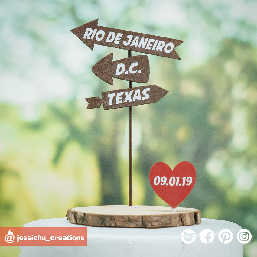 Destination & Heart Date Sign | Custom Handmade Wedding Cake Topper Figurines | Jessichu Creations
