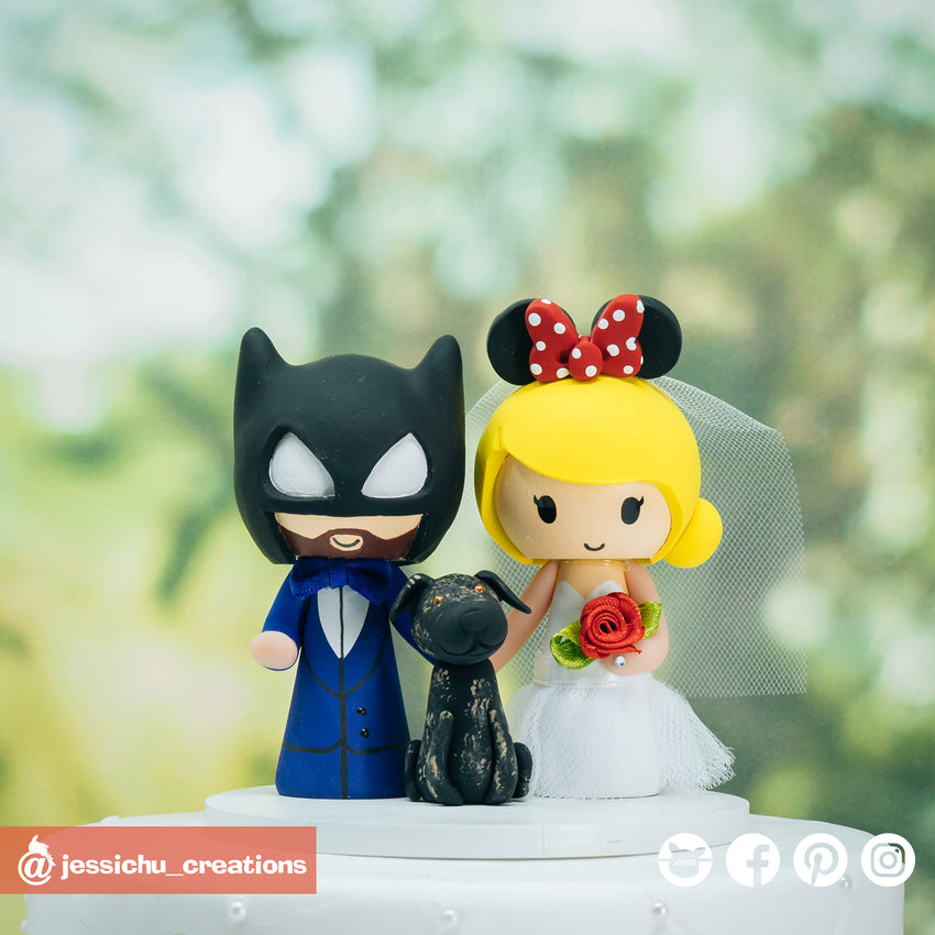 Batman & Minnie Mouse | Disney x DC | Custom Handmade Wedding Cake Topper Figurines | Jessichu Creations