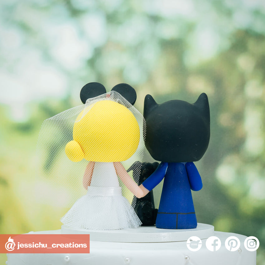 Batman Groom & Minnie Mouse Bride - DC x Disney Inspired Wedding Cake Topper | Wedding Cake Toppers | Cake Topper Gallery | Jessichu Creations