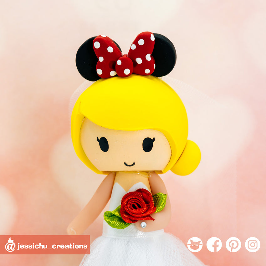Minnie Mouse | Disney | Custom Handmade Wedding Cake Topper Figurines | Jessichu Creations