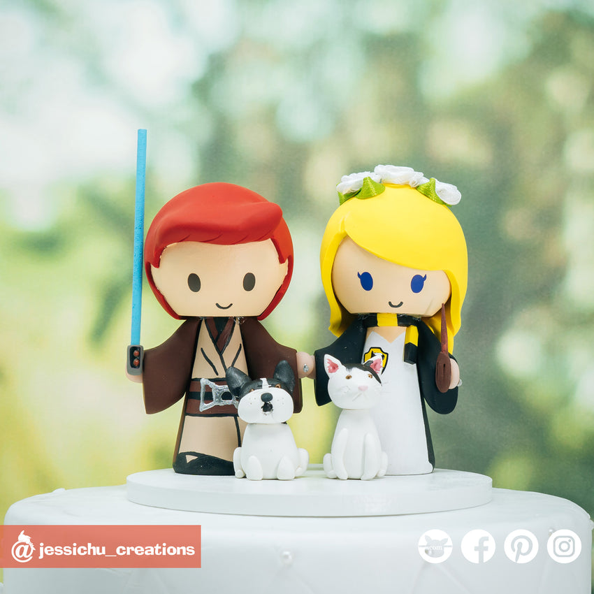 Jedi & Harry Potter Hufflepuff | Star Wars x HP | Custom Handmade Wedding Cake Topper Figurines | Jessichu Creations