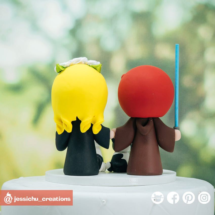 Jedi Groom & Harry Potter Hufflepuff Bride Inspired Star Wars x HP Wedding Cake Topper | Wedding Cake Toppers | Cake Topper Gallery | Jessichu Creations