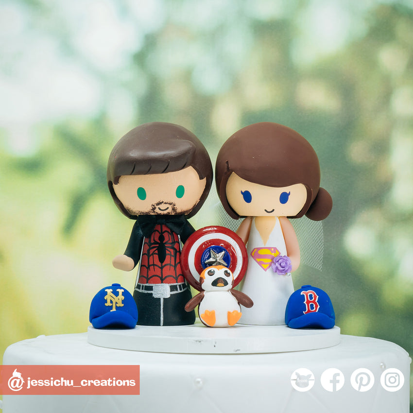 Spiderman & Supergirl with Porg | DC x Marvel x Star Wars | Custom Handmade Wedding Cake Topper Figurines | Jessichu Creations