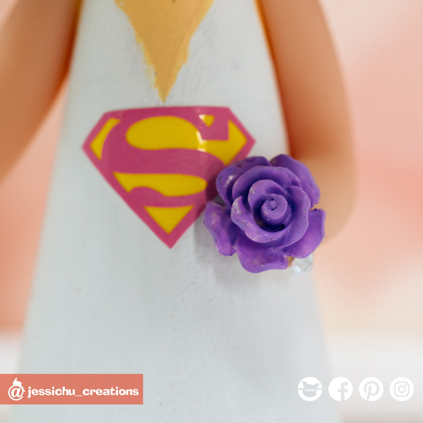 Spiderman Groom & Supergirl Bride with Porg Inspired DC x Marvel x Star Wars Wedding Cake Topper | Wedding Cake Toppers | Cake Topper Gallery | Jessichu Creations