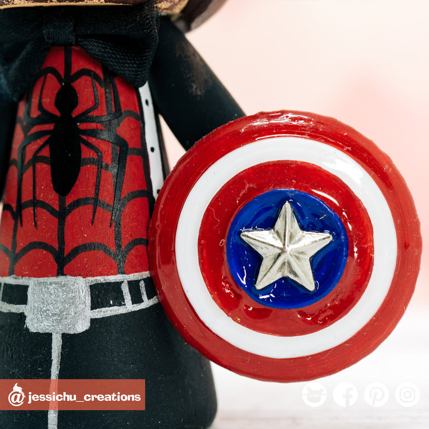 Captain America Shield | Marvel | Accessories | Custom Handmade Wedding Cake Topper Figurines | Jessichu Creations