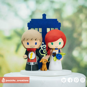 Flash & Harry Potter Ravenclaw with Tardis | DC x HP x Dr Who | Custom Handmade Wedding Cake Topper Figurines | Jessichu Creations