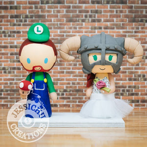 Luigi and Skyrim Wedding Cake Topper | Nintendo x Skyrim | Jessichu Creations