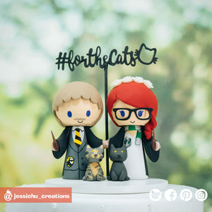 HP Hufflepuff & Slytherin | Harry Potter | Custom Handmade Wedding Cake Topper Figurines | Jessichu Creations