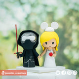 Kylo Ren & Bridal Mickey | Disney x Star Wars | Custom Handmade Wedding Cake Topper Figurines | Jessichu Creations