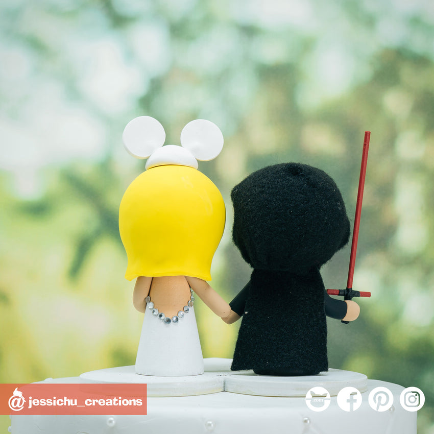 Kylo Ren Groom & Bridal Mickey Bride Inspired Disney x Star Wars Wedding Cake Topper | Wedding Cake Toppers | Cake Topper Gallery | Jessichu Creations