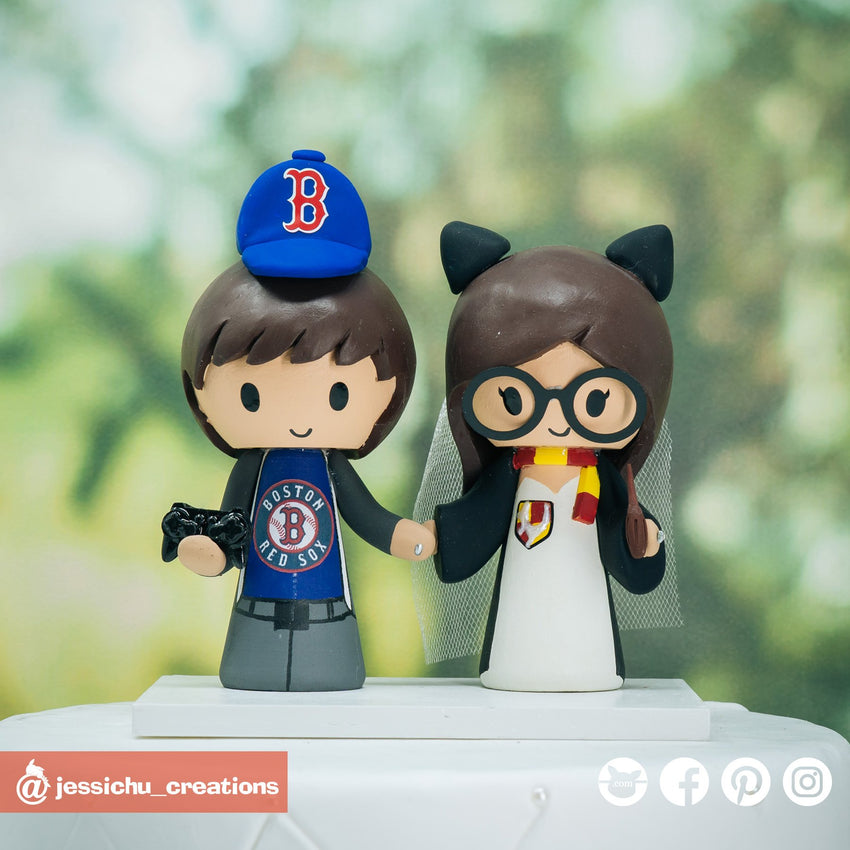 Boston Red Sox Fan & Gryffindor Bride with Hedwig Harry Potter | Custom Handmade Wedding Cake Topper Figurines | Jessichu Creations
