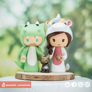 Dragon Groom & Unicorn Bride with Pet Cat | Custom Handmade Wedding Cake Topper Figurines | Jessichu Creations
