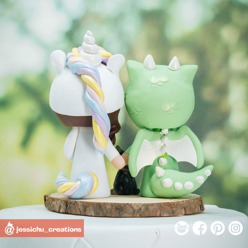 Dragon Groom & Unicorn Bride with Pet Cat Custom Handmade Figurine Wedding Cake Topper | Wedding Cake Toppers | Cake Topper Gallery | Jessichu Creations