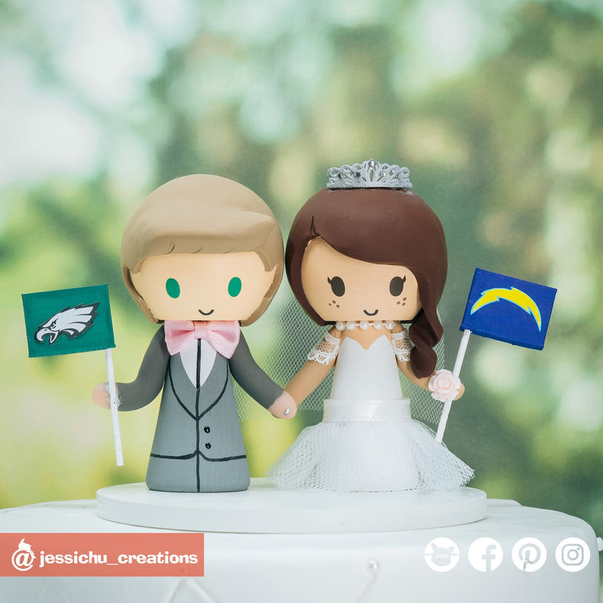 Philadelphia Eagles Groom & LA Chargers Bride | Custom Handmade Wedding Cake Topper Figurines | Jessichu Creations
