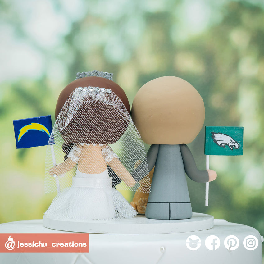 Philadelphia Eagles Groom & LA Chargers Bride - Sports Inspired Wedding Cake Topper | Wedding Cake Toppers | Cake Topper Gallery | Jessichu Creations