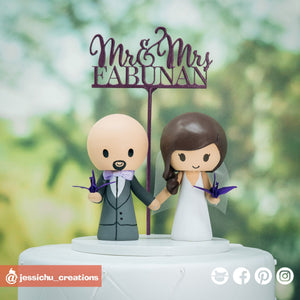Bride & Groom with Origami Paper Cranes | Custom Handmade Wedding Cake Topper Figurines | Jessichu Creations