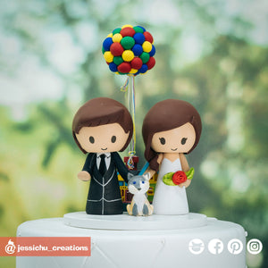 Bride & Groom with UP House and Balloons | Disney x Pixar | Custom Handmade Wedding Cake Topper Figurines | Jessichu Creations