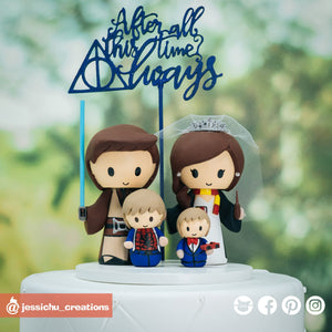 Jedi & Harry Potter Gryffindor Family | Star Wars x HP | Custom Handmade Wedding Cake Topper Figurines | Jessichu Creations