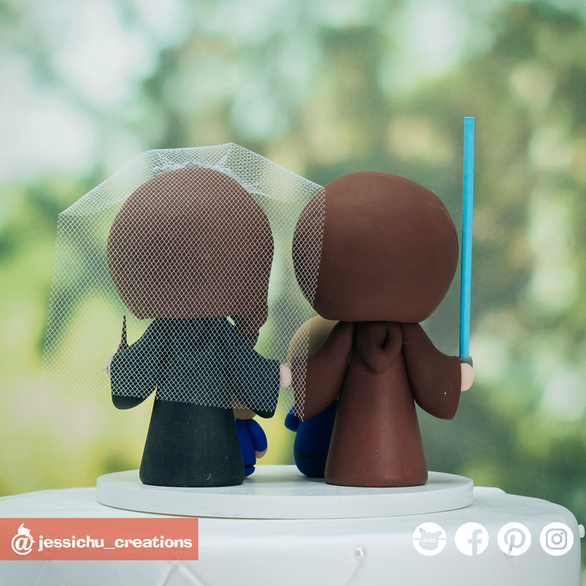 Jedi & Harry Potter Gryffindor Family Inspired Star Wars x HP Wedding Cake Topper | Wedding Cake Toppers | Cake Topper Gallery | Jessichu Creations