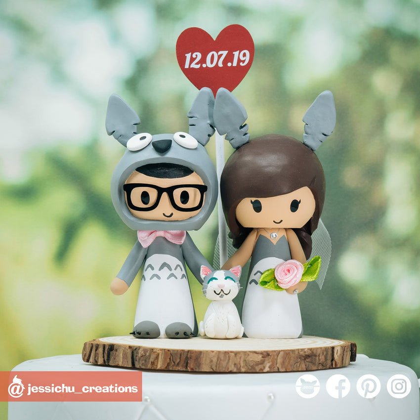 Totoro Bride & Groom Inspired Studio Ghibli | Custom Handmade Wedding Cake Topper Figurines | Jessichu Creations