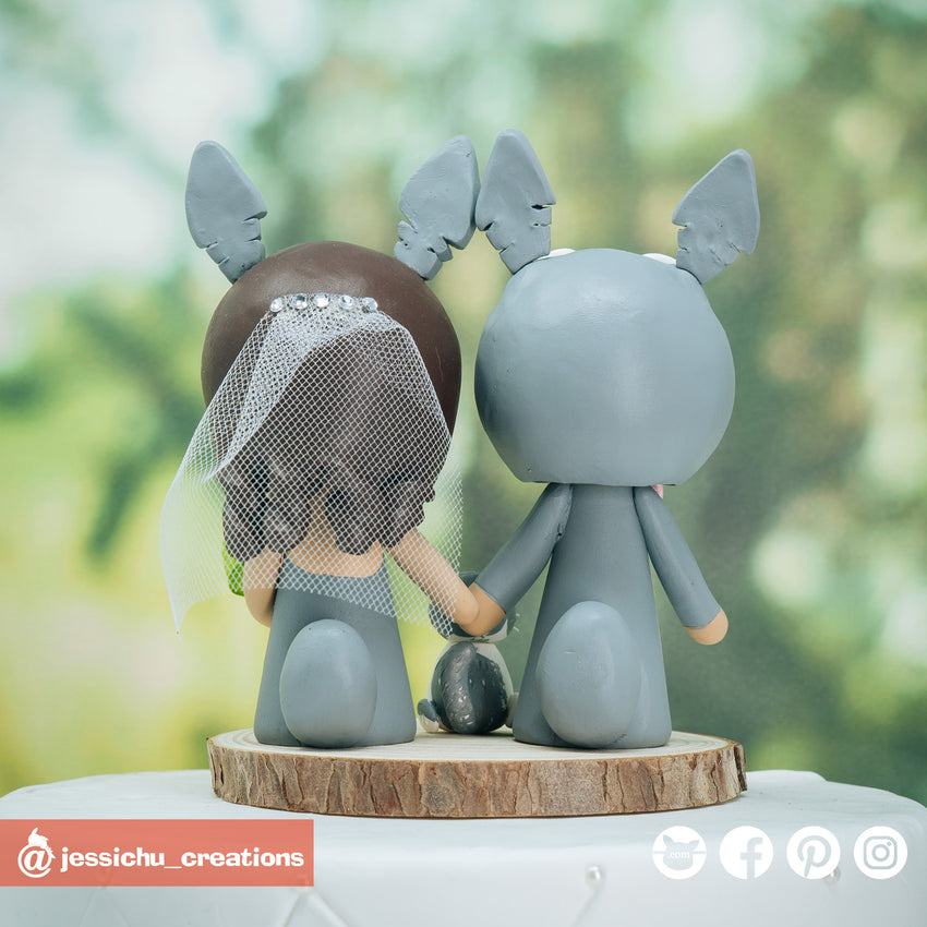 Totoro Bride & Groom Inspired Studio Ghibli Wedding Cake Topper | Wedding Cake Toppers | Cake Topper Gallery | Jessichu Creations