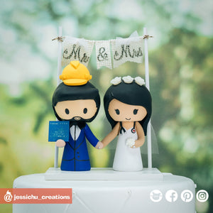 Construction Worker Groom & Nurse Bride | Custom Handmade Wedding Cake Topper Figurines | Jessichu Creations