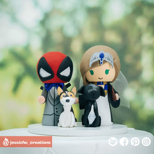Deadpool and Harry Potter Ravenclaw Wedding Cake Topper | Marvel X-Men x HP | Jessichu Creations
