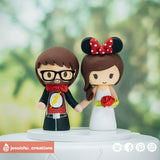 Flash Groom & Minie Mouse Bride | Disney x DC | Custom Handmade Wedding Cake Topper Figurines | Jessichu Creations
