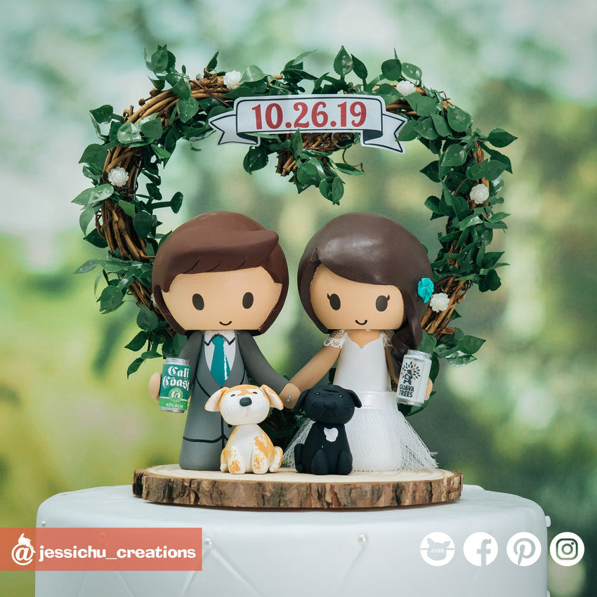 Cali Coast Craft Beer Fan Bride & Groom | Custom Handmade Wedding Cake Topper Figurines | Jessichu Creations