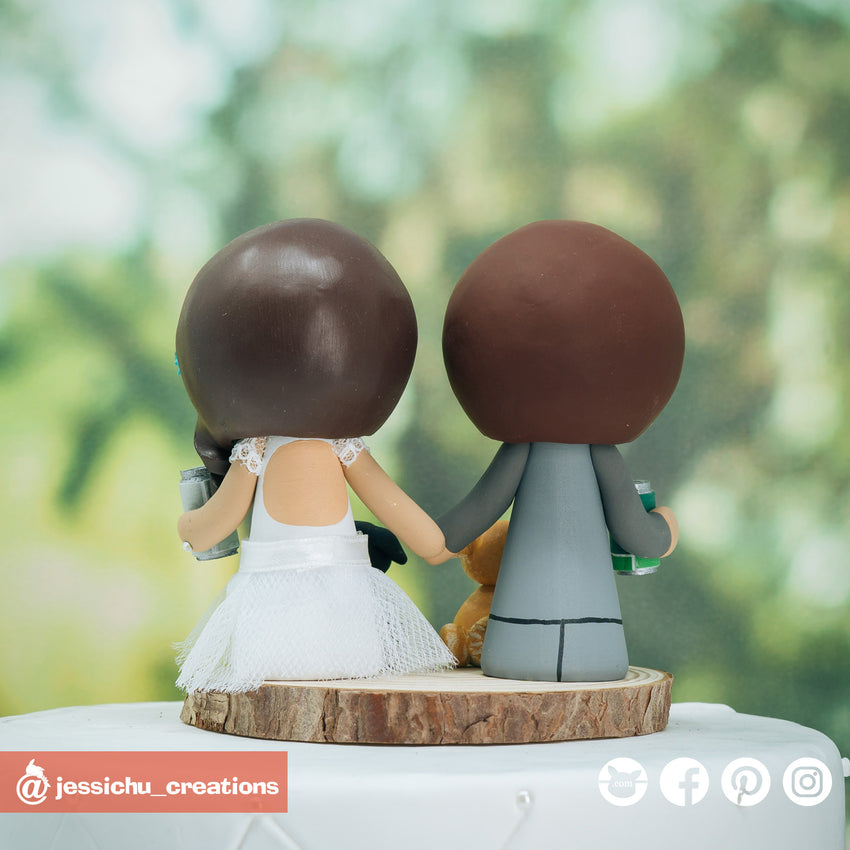 Cali Coast Craft Beer Fan Bride & Groom Custom Handmade Figurine Wedding Cake Topper | Wedding Cake Toppers | Cake Topper Gallery | Jessichu Creations